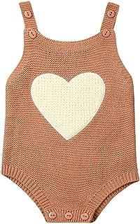 الوليد الطفل بوي فتاة محبوك رومبير الرضع بذلة أكمام تتسابق القلب ستار ارتداءها الملابس (Color : Brown, Kid Size : 6M)