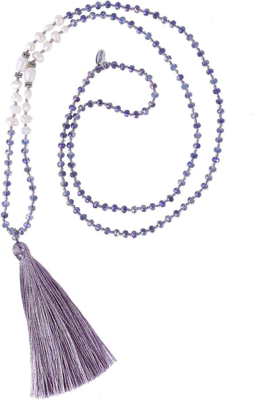 KELITCH New Women Tassel Pearl Necklace Crystal Beads Necklace Bib Shining Y-Shape Necklace 2020