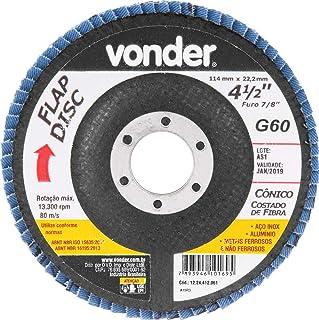 """Disco de desbaste/acabamento flap-disc cônico 4.1/2"""" grão 60 costado de fibra Vonder"""