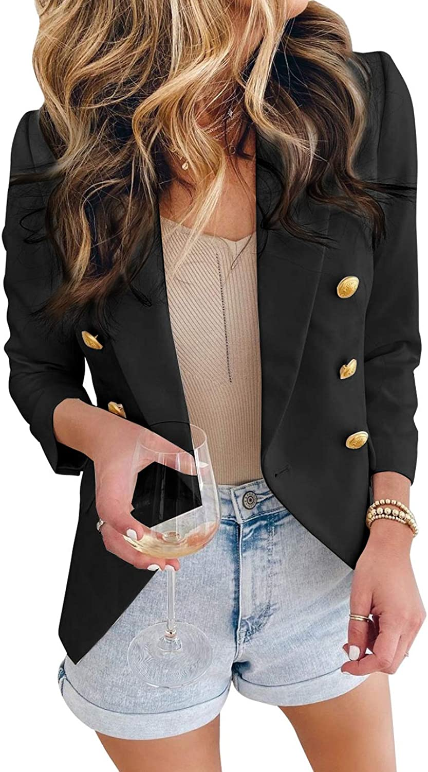 Asvivid Womens low-pricing Casual 2021 Pocketed Office Blazers Front Open Draped