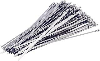 Yizhet 300 Pieza Bridas Metalicas Cable Bridas banda de acero escudo térmico cinta envoltura de escape,Cable Lazos 4.6mm x 300mm Color Plata (300pcs)