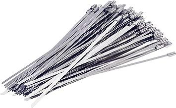 Yizhet 100 Pieza Bridas Metalicas Cable Bridas banda de acero escudo térmico cinta envoltura de escape,Cable Lazos 4.6mm x 300mm Color Plata