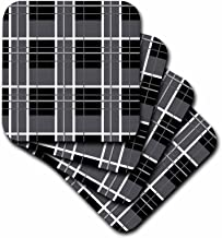 3dRose CST_35480_1 Black and Grey Plaid-Soft Coasters, Set of 4