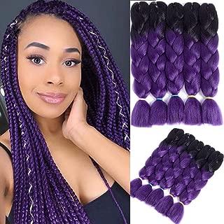5 Packs Jumbo Braid Kanekalon Synthetic Ombre Braiding Hair Extensions Crochet Twist Braids Hair for Braiding (Black-Dark Purle, 24 Inch)