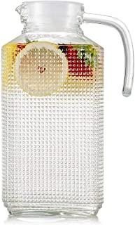 Circleware 06571 Carafe Large 8 Cup Everyday Water Pitcher with Lid and Handle, Beverage Dispenser Glassware for Beer Glasses, Wine, Liquor & Kitchen Drinking Gifts, 63.4, Frigo Textured
