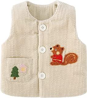 pureborn Toddler Unisex Baby Cartoon Squirrel Corduroy Vest Quilt Lined Waistcoat
