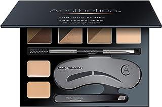 Aesthetica Brow Contour Kit - 16-Piece Eyebrow Makeup Palette - 6 Eyebrow Powders, 5 Eyebrow Stencils, Spoolie/Brush Duo, ...