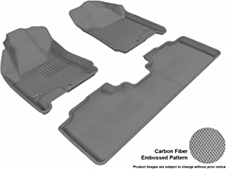 3D MAXpider Complete Set Custom Fit All-Weather Floor Mat for Select Cadillac SRX Models - Kagu Rubber (Gray)