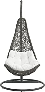 Modway Abate Wicker Rattan Outdoor Patio Porch Lounge Swing Chair Set with Stand in Gray White