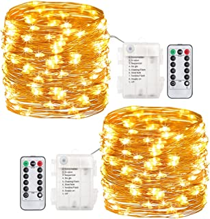 GDEALER 2 Pack 20 Feet 60 Led Fairy Lights Battery Operated Christmas Lights with Remote Timer Waterproof Copper Wire Twinkle String Lights for Thanksgiving Christmas Decorations Bedroom Wedding