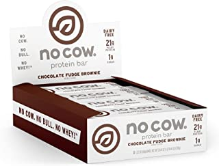 No Cow Protein Bar, Chocolate Fudge Brownie, 21g Plant Based Protein, Keto Friendly, Low Carb, Low Sugar, Dairy Free, Gluten Free, Vegan, High Fiber, Non-GMO, 12 Count
