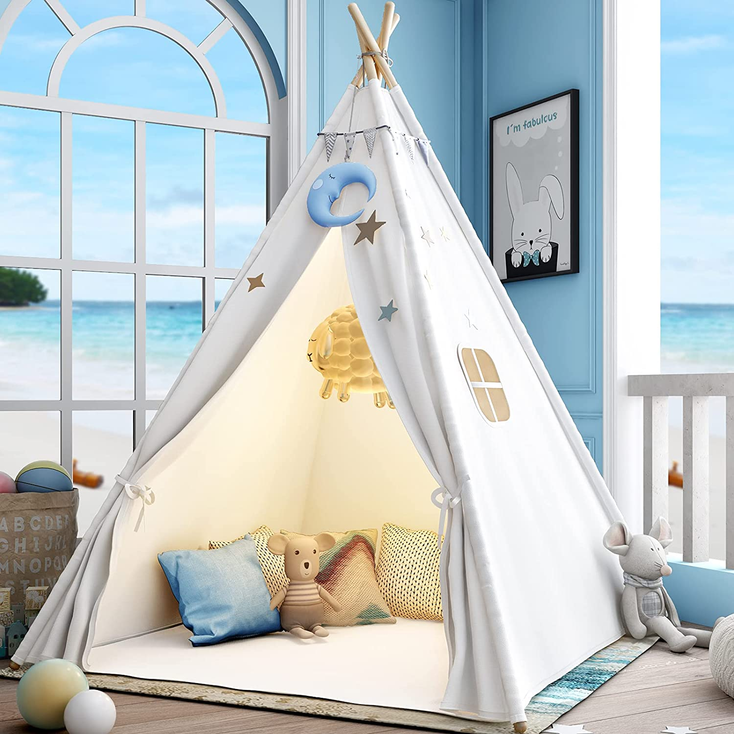 Sumerice service Teepee Play Tent for Kids Columbus Mall Case Fo Floor Mat+Carry with