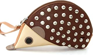 Studded Faux Leather Hedgehog Shaped Clutch Purse Bag, 10 Inches