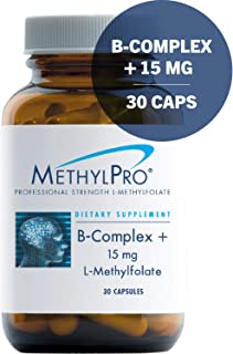 MethylPro B-Complex + 15mg L-Methylfolate 30 Capsules - Professional Strength Active Folate for Energy + Mood Support with Methyl B12 + B6 as P-5-P, Non-GMO + Gluten-Free