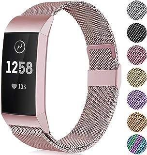 Faliogo Ersättningsrem av metall kompatibel med Fitbit Charge 3 rem/Fitbit Charge 4 rem, justerbart rostfritt stål armband...