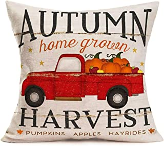 "Fukeen Farmhouse Decorative Pillow Covers Red Truck Pickup Carrying Pumpkins with Autumn Home Grown Harvest Pumpkins Apples Hayrides Quote Throw Pillow Cases Cotton Linen 18""x18"" Cushion Cover"