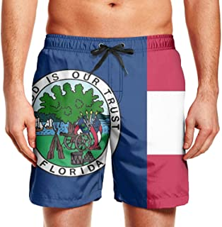 KHJGHYG Men's fl Florida State Panic Seal Flag Graphic Polyester Quick Dry Gym Trunks Shorts