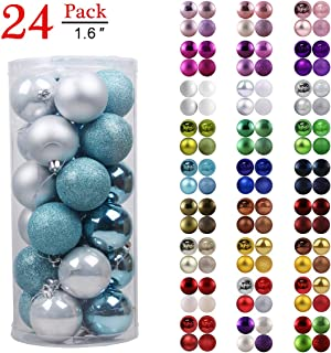 GameXcel Christmas Balls Ornaments for Xmas Tree - Shatterproof Christmas Tree Decorations Perfect Hanging Ball Sky Blue & Silver 1.6