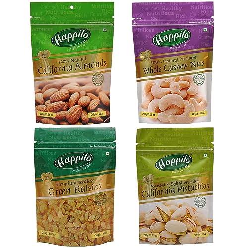 Happilo Premium Dry Fruits, 850g (California Almonds, Raisins, Whole Cashews, Roasted Pistachios)