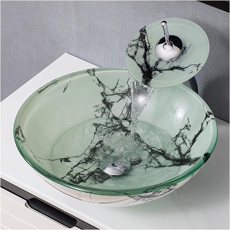 YLR Diseño De Arte Minimalista Moderno Lavabo sobre Encimera, Forma Redonda Lavabo Bano sobre Encimera,Vidrio Templado Lujo Ligero Europeo Y Americano Lavamanos Lavabo(Color:Conjunto Completo B)