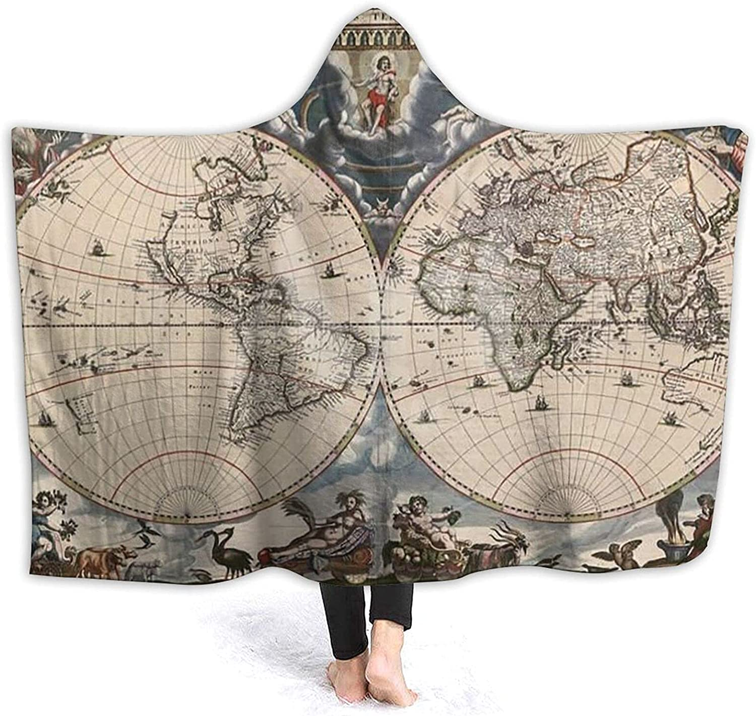 Ranking TOP18 Dated Old Map of World Hooded Blanket Surprise price Historic Geography Sherpa
