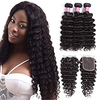 "Brazilian Deep Wave Bundles with Closure Human Hair(14""16""18""+12"" Closure) Unprocessed 8A+ Grade Virgin Human Hair Deep Curly Bundles with Lace Closure Free Part Natural Black"