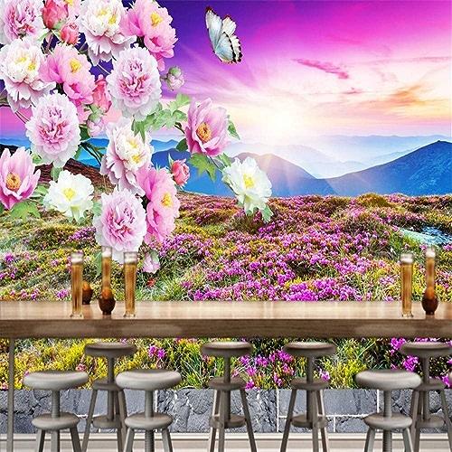 VIXI Stickers muraux Papier peint 3D Extérieur Montagne Coucher de Soleil Paysage Peony Illustration Fond Peinture Murale Salon Restaurant Café Art Decal Mural,250  175cm,
