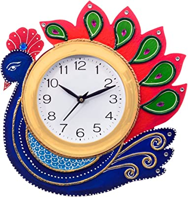 eCraftIndia Handcrafted Peacock Papier-Mache and Wooden Wall Clock (27 cm x 3 cm x 27 cm, KWC658)