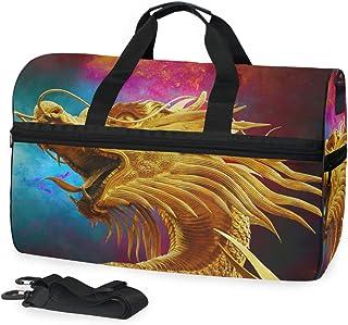 MONTOJ Reisetasche mit goldenem Drachenmuster, übergroß, Segeltuch, Schultertasche