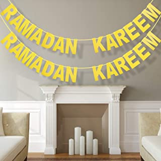 2 Pieces Ramadan Kareem Banner Gold Glitter Banner Decorative Eid Festival Hanging Garlands for Home Party Supplies
