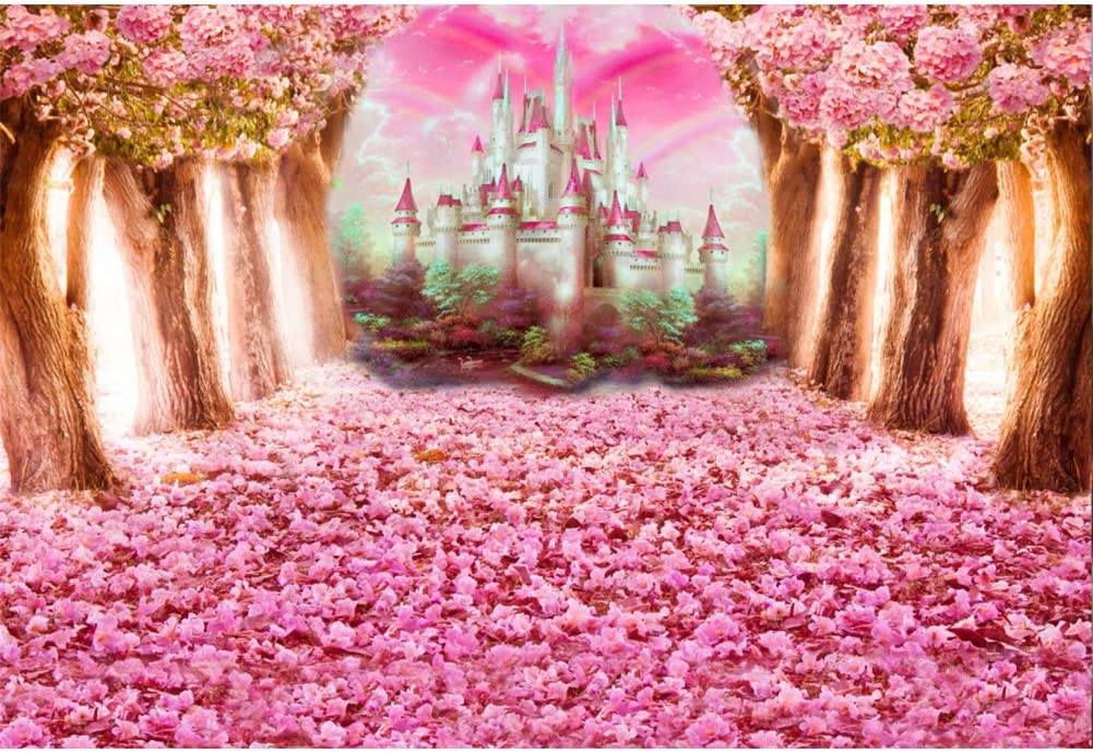 YEELE Girl Birthday Party Backdrop 10x6.5ft Pink Castle in Fairy Tale Kingdom Photography Background Wonderland Party Cake Table Decor Photo Booth Shoot Props Vinyl Wallpaper