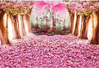 Leowefowa 2,2x1,5m Vinilo Primavera Telon de Fondo Floración Rosa Flor De Cerezo Petales Castillo de Cuento de Hadas Fondo...
