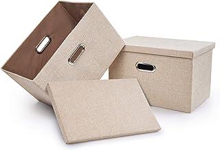 2個ふた付き収納ボックス ふた付きの折り畳み可能なファイルボックス、箱管理器、折り畳み可能なメモリボックス 織物立方体記憶、漫画収納ボックス、収納ケース・ボックス(ベージュ, 2)
