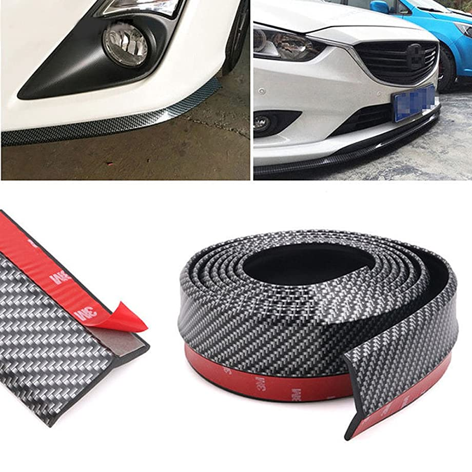 CUagain Universal Front Bumper Spoiler, 8.2Ft/250Cm Universal Carbon Fiber Bump Clips Body Trim Splitter Spoiler Side Skirt for Car Truck zynpxet0067