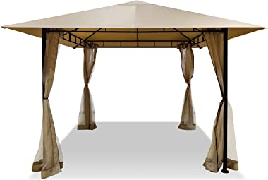 DikaSun Gazebos for Patios Single Roof Gazebo with Curtains, Outdoor Shade Canopy Gazebo with Adjustable Top Corner Tubes (Be