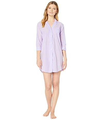 LAUREN Ralph Lauren Classic Wovens 3/4 Sleeve Pointed Notch Collar Sleepshirt (Lilac Stripe) Women
