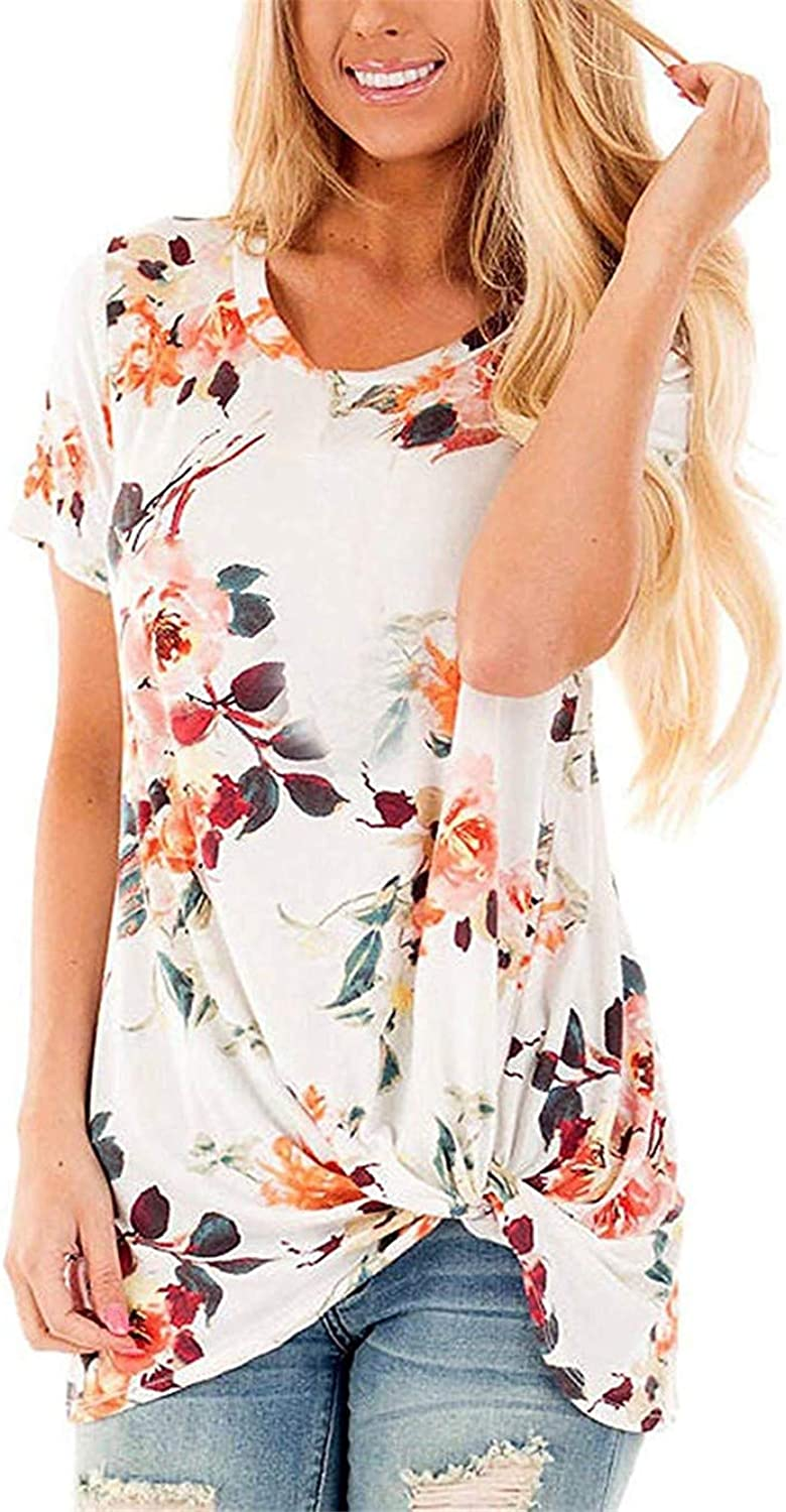 Onlypuff Floral Shirts for Women Short Sleeve Twist Knot Front Tunic Top Round Neck Blouse