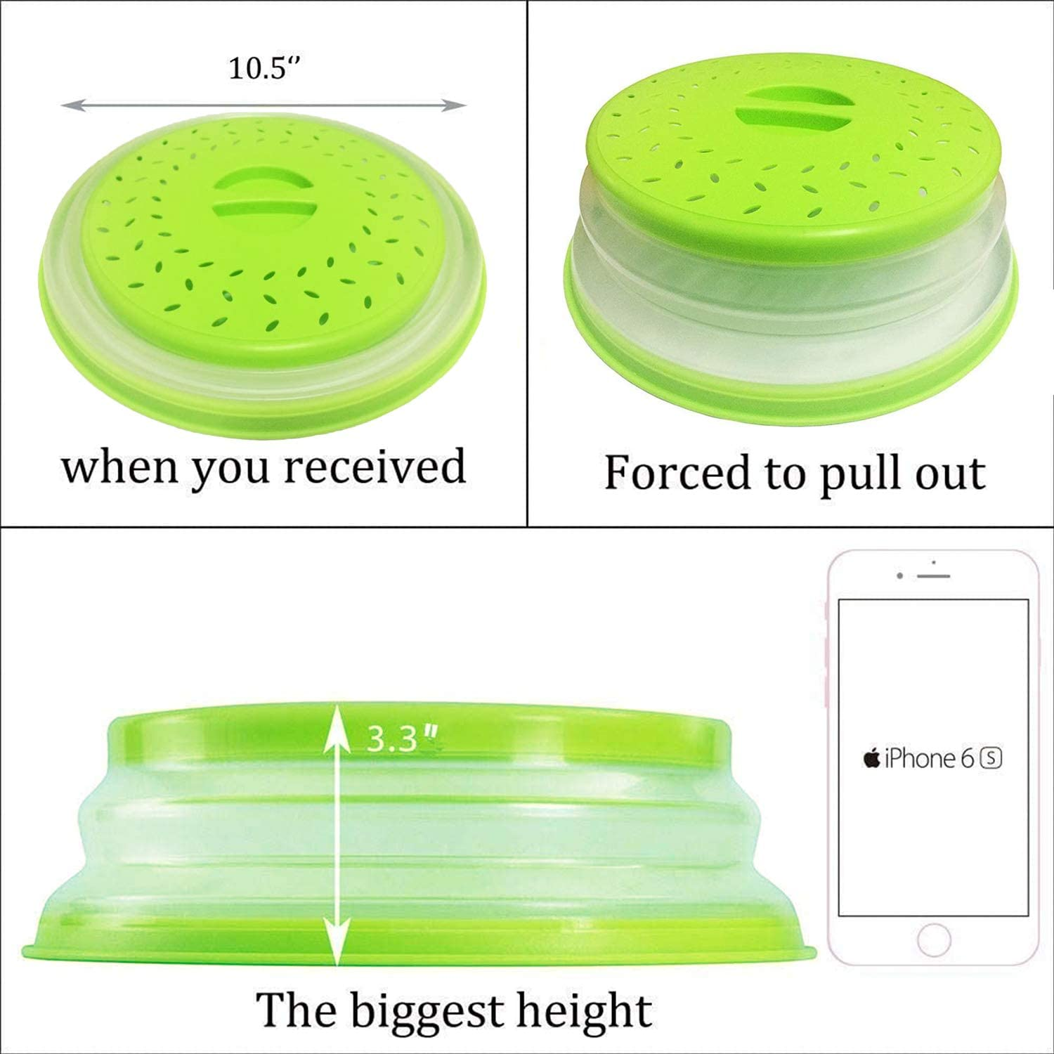 Vented Collapsible Microwave Splatter Cover for Food,Kitchen dish bowl Plate lid Can be Hung,Dishwasher-Safe,Fruit Drainer Basket,BPA-Free Silicone /& Plastic,Blue