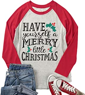 Plus Size Have Yourself a Merry Little Christmas T Shirt Womens 3/4 Sleeve Letters Print O-Neck Casual Tees