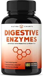 Digestive Enzymes with Prebiotics & Probiotics 180 Vegan Capsules - Better Digestion, Nutrient Absorption - Multi Enzyme S...