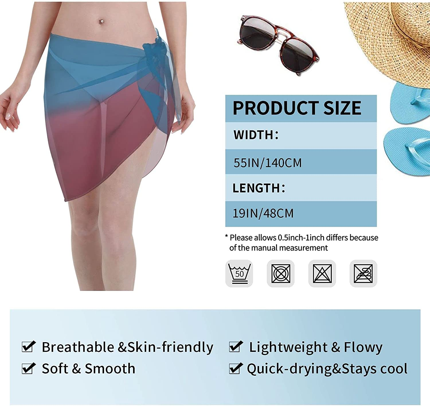 Red and Blue Background Women Beach Short Sarongs Cover Ups Beach Swimsuit Wrap Skirt