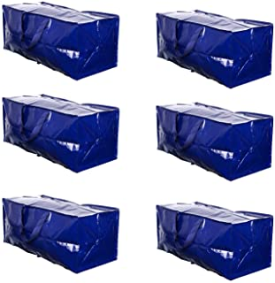 VENO Heavy Duty Extra Large Moving Bag Storage Tote Backpack Carrying Handles & Zipper Alternative to Moving Box, Compatible with IKEA Frakta Hand Carts Boxes Bin, Made of Recycled Material (6 Packs)