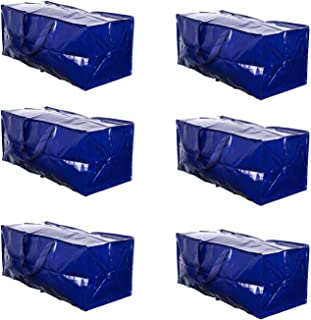 VENO Heavy Duty Extra Large Storage Bag Moving Tote Backpack Carrying Handles & Zipper - Compatible with IKEA Frakta Hand Carts Boxes Bin, Made of Recycled Material (6 Packs)