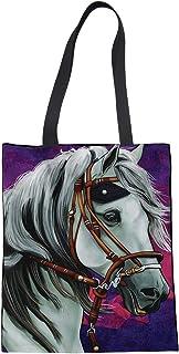Showudesigns Showudesigns Einkaufstasche aus Segeltuch mit Taschen, Motiv: Pferd, lila, wiederverwendbar, faltbar, strapazierfähig, für Damen und Mädchen