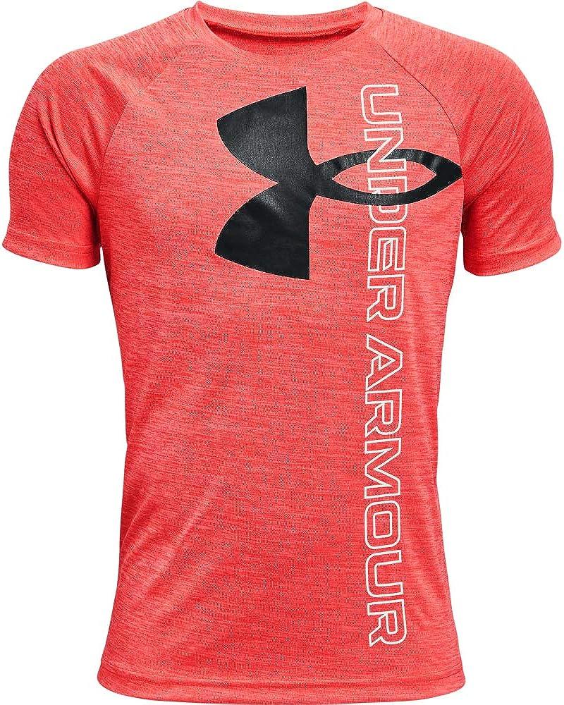 Under Armour Boys' Tech Split Logo Hybrid Short-Sleeve T-Shirt : Sports & Outdoors