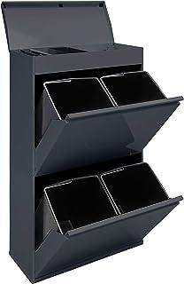 ARREGUI Top CR624-B Recyclage en Acier, Poubelle de tri sélectif, 4 seaux, avec Plateau supérieur Multifonction, 4 x 17L (...