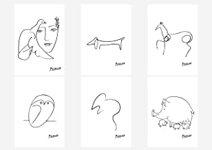 Wall Art Decoration Picasso Drawn Lines Head of A Women Dog Owl Horse Mouse Pig Poster Prints Set of 6 Size A4 (21cm x 29cm) Unframed for Pablo Picasso Paintings Lovers
