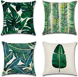 Calcifer Fundas de cojín de lino de algodón duradero con diseño de hojas de monstera/tortuga de 45 x 45 cm, fundas de cojín para el sofá del hogar, decoración #1 (juego de 4)