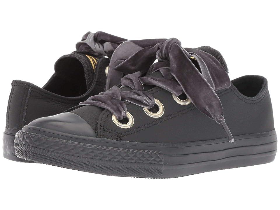 Converse Kids Chuck Taylor(r) All Star(r) Star Big Eyelets Ox (Little Kid/Big Kid) (Almost Black/Almost Black) Girls Shoes