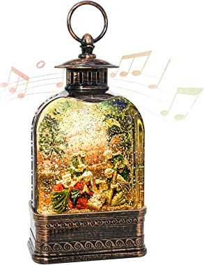 SUNGATH Snow Globes Lantern with Music, Christmas Lantern Spinning Water Glittering with Nativity Scene and Timer Fit for Hom
